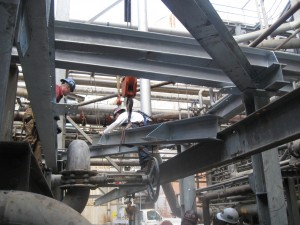 Structural Steel installation by the Mechanical Team