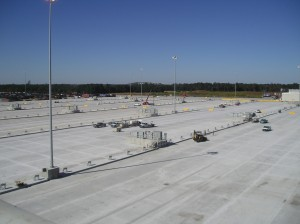Large scale concrete parking & loading area